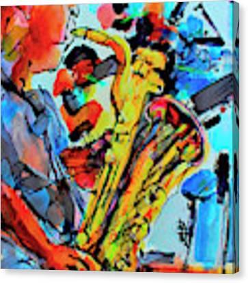 Baritone Sax Player Modern Music Art  Canvas Print by Ginette Callaway