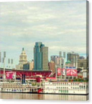Baseball And Boats In Cincinnati # 2 Canvas Print by Mel Steinhauer