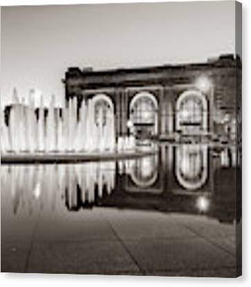 Bloch Fountain At Union Station - Downtown Kansas City Sepia Canvas Print by Gregory Ballos