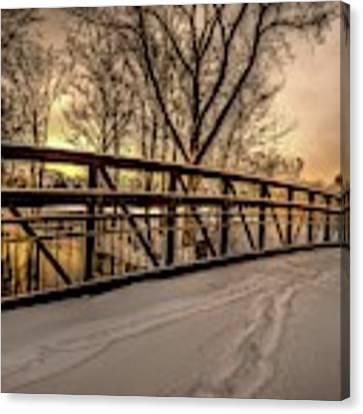 Bridge At Night In The Snow  V2 Dsc_0087 Canvas Print by Michael Thomas