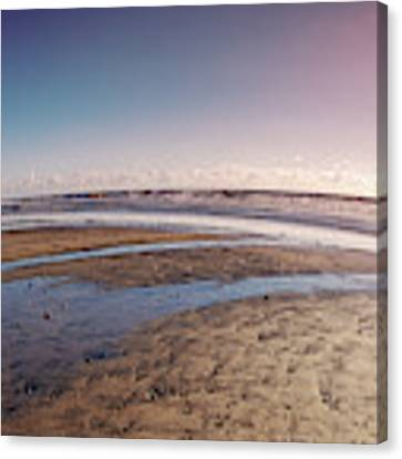 Carlsbad Low Tide Red Blue Sky Canvas Print by Alison Frank