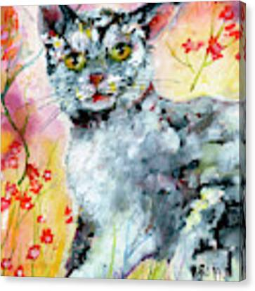 Cat Portrait My Name Is Hobo Canvas Print by Ginette Callaway