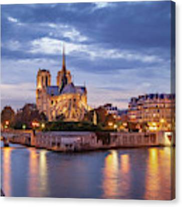 Cathedral Notre Dame And River Seine Canvas Print by Brian Jannsen