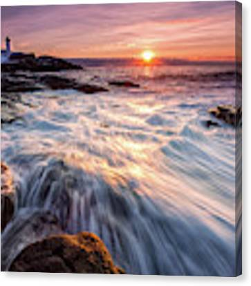 Crashing Waves At Sunrise, Nubble Light.  Canvas Print by Jeff Sinon