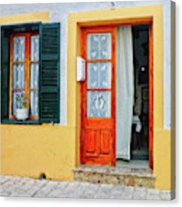 Doorway With Curtain Canvas Print by Dee Flouton