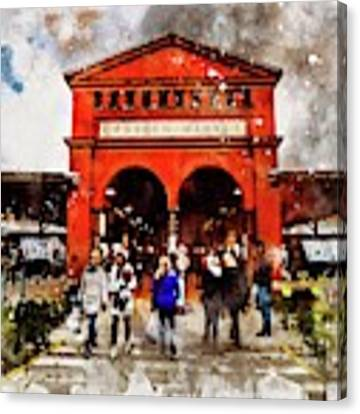 Eastern Market Watercolor Canvas Print by Michael Thomas