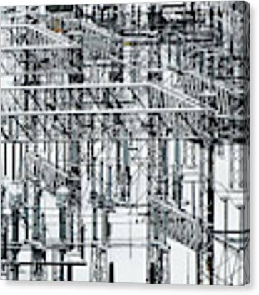 Electrical Substation Canvas Print by Juan Contreras