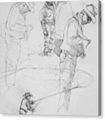 Fly Fisherman Sketch Canvas Print by Jani Freimann