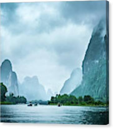 Foggy Morning On The Li River  Canvas Print by Kevin McClish