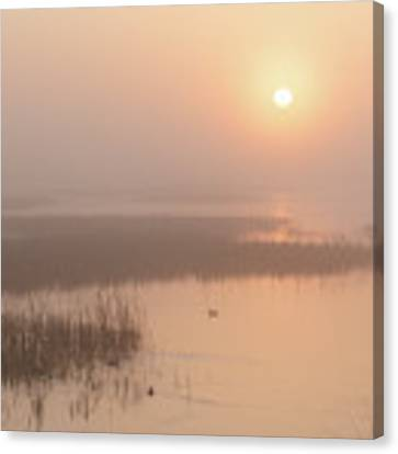 Foggy Sunrise At Cheyenne Bottoms -02 Canvas Print by Rob Graham