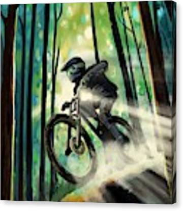 Forest Jump Mountain Biker Canvas Print by Sassan Filsoof
