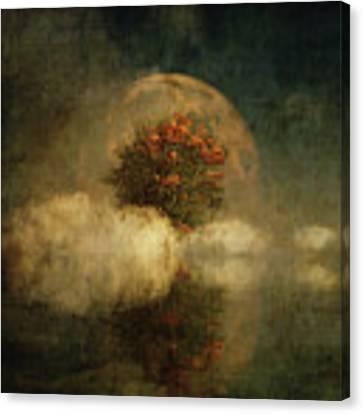 Full Moon Over Misty Water Canvas Print by Jan Keteleer