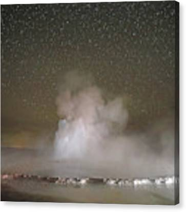 Great Fountain Geyser At Night Canvas Print by Jean Clark