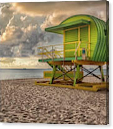 Green Lifeguard Stand Canvas Print by Alison Frank