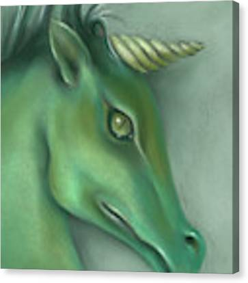 Green Water Horse Unicorn Canvas Print by MM Anderson