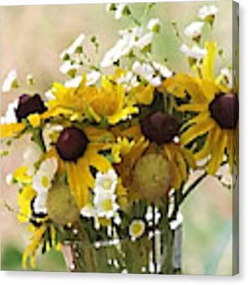 Impressionist Wildflower Arrangement Canvas Print by Shelli Fitzpatrick