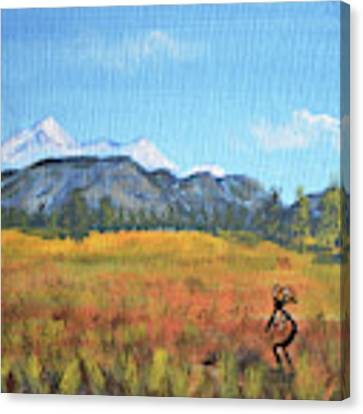 Kokopelli And The San Francisco Peaks Canvas Print by Chance Kafka