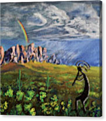 Kokopelli And The Superstition Mountains Canvas Print by Chance Kafka