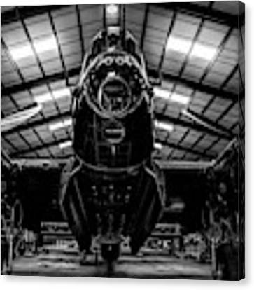 Lancaster Bomber Just Jane Bnw Canvas Print by Scott Lyons