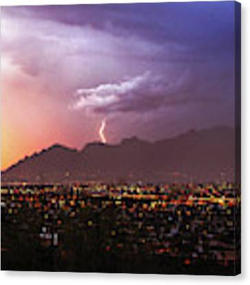 Lightning Bolt Over The Santa Catalina Mountains And Tucson, Arizona Canvas Print by Chance Kafka