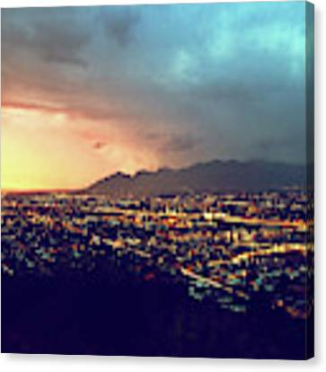 Lights Of Tucson, Arizona During Monsoon Sunset Rains Canvas Print by Chance Kafka