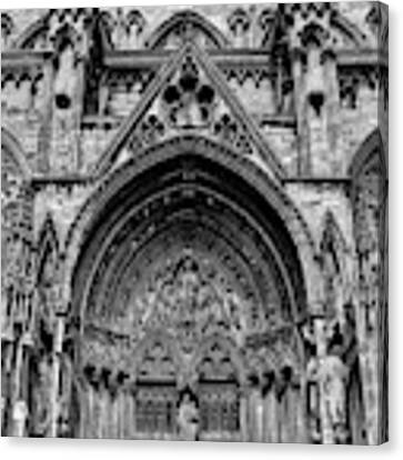 Lincoln Cathedral Side Entrance Monochrome Canvas Print by Scott Lyons