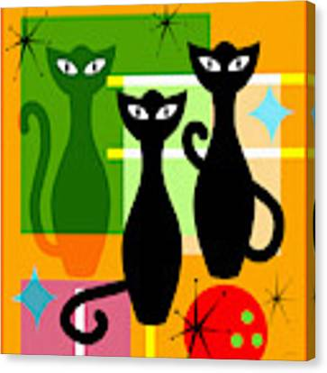 Mid Century Modern Abstract Mcm Bowling Alley Cats 20190113 Square Canvas Print by Wingsdomain Art and Photography