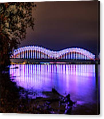 Mighty Lights Of The Hernando Desoto Bridge 001 Canvas Print by Lance Vaughn
