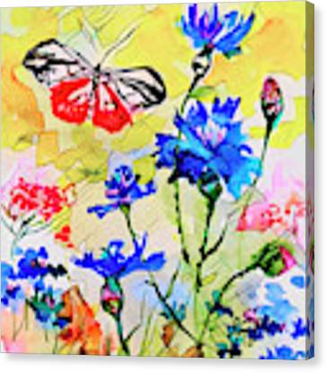 Modern Floral Art Butterfly Cornflowers Canvas Print by Ginette Callaway