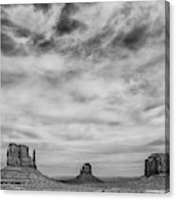Monument Valley In Black And White Canvas Print by Denise Bush