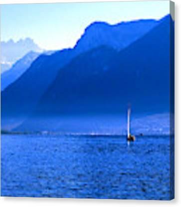 Mountains Across Lake Geneva Canvas Print by Jeremy Hayden