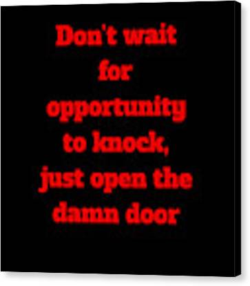 Open The Door     Red On Black Canvas Print by Edward Lee