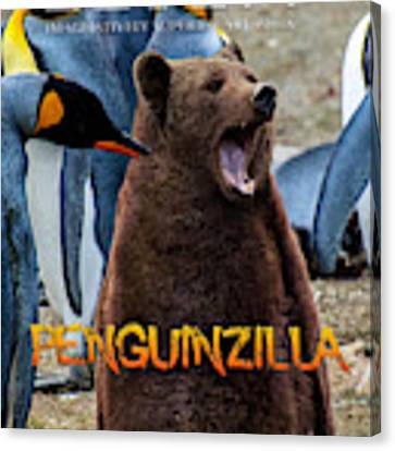 Penguinzilla Canvas Print by ISAW Company