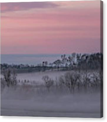 Pink Misty Morning #3 - Misty Field Canvas Print by Patti Deters