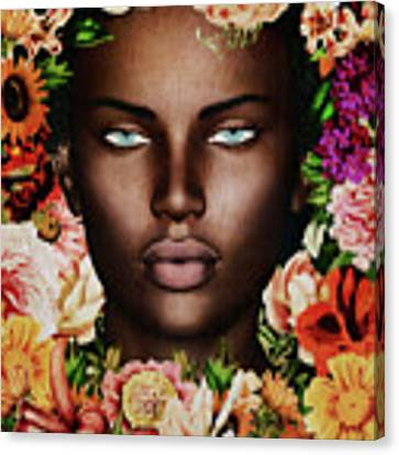Portrait Of African Woman Surrounded With Flowers Canvas Print by Jan Keteleer