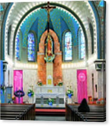 Praying At The Immaculate Heart Of Mary Church - San Antonio - Painted Church Canvas Print by Jason Politte