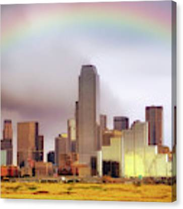 Rainbow Over Downtown Dallas - Dallas Skyline - Texas Canvas Print by Jason Politte