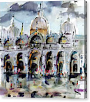Rainy Day In Venice Piazza San Marco Canvas Print by Ginette Callaway