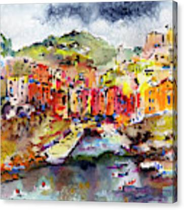 Riomaggiore Cinque Terre Italy Canvas Print by Ginette Callaway
