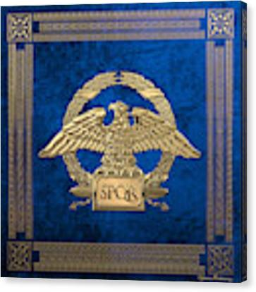 Roman Empire - Gold Roman Imperial Eagle Over Blue Velvet Canvas Print by Serge Averbukh