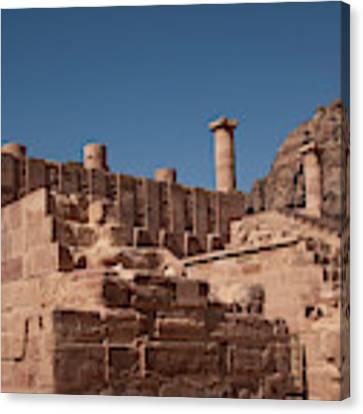 Roman Temple In Petra Canvas Print by Mae Wertz