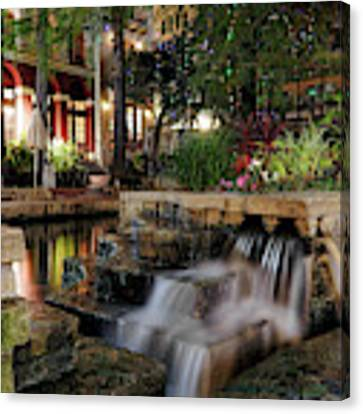 San Antonio Riverwalk Waterfall - Christmas - Texas Canvas Print by Jason Politte