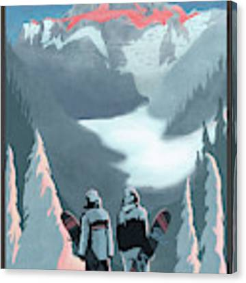 Scenic Vista Snowboarders Canvas Print by Sassan Filsoof