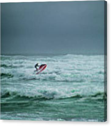 Shooting The Surf Canvas Print by Judy Hall-Folde