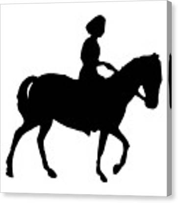 Silhouette Of A Woman On Horseback Canvas Print by Rose Santuci-Sofranko