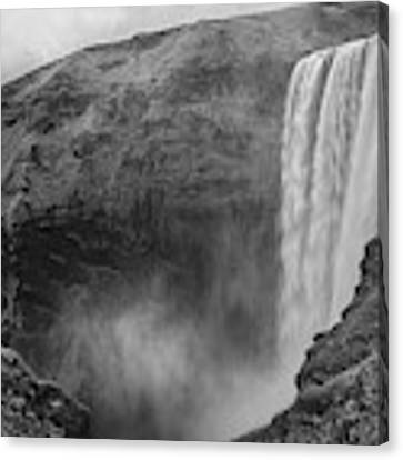 Skogafoss Iceland Black And White Canvas Print by Nathan Bush
