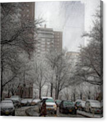 Snow In The City Canvas Print by Alison Frank