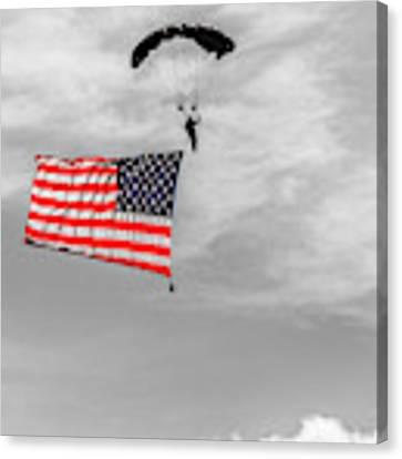 Socom Flag Jump In Selective Color Canvas Print by Doug Camara