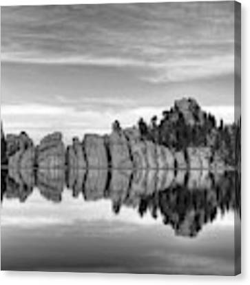 Sylvan Lake Reflections Black And White Canvas Print by Mel Steinhauer