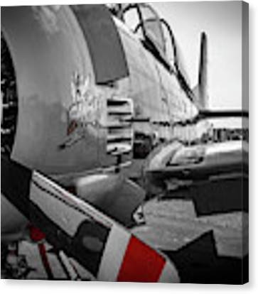 T-28b Trojan In Selective Color Canvas Print by Doug Camara